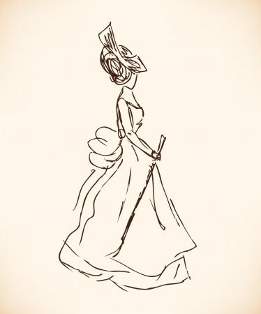 classic woman: Boceto de mujer en ropa retro. Se�ora en vestido vintage. Dibujado a mano silueta de la mujer moderna