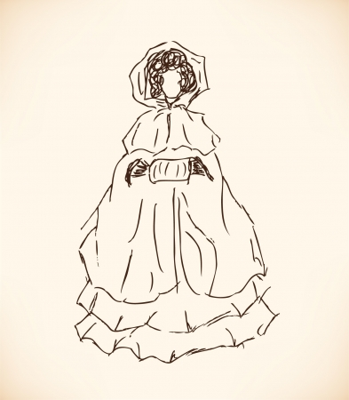 muff: Sketch of woman with muff. Romantic lady in cloak. Hand drawn modern woman silhouette Illustration