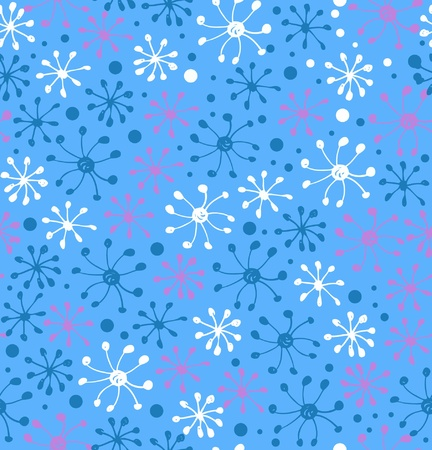 Snowflakes pattern. Decorative snowfall hand drawn background. Winter christmas texture Vector