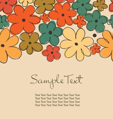 Colorful background with flowers and place for text. Design decorative template for cards, crafts, scrapbooking, prints on cups, bags, notebooks, souvenirs Vector