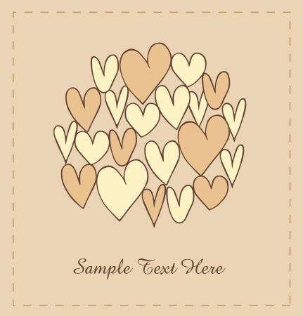 Beige hearts in circle  Cute vintage elements for scrapbooking, gifts, arts, crafts, prints  Retro lace background Vector