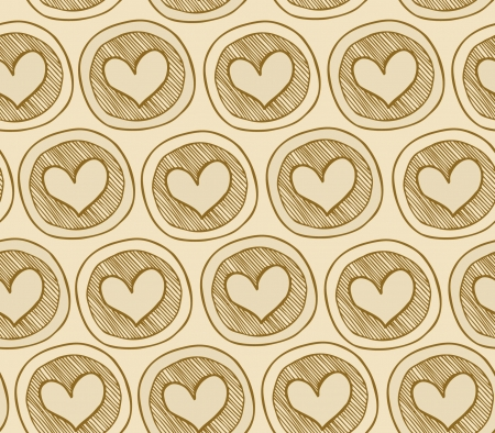 Beige seamless pattern with hearts in circles  Abstract texture witn many dercorative elements  Background for prints, crafts, package papers, wallpapers  Stock Vector - 17088515