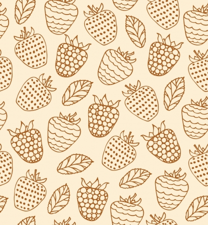 Cartoon floral design  Rural seamless pattern with berries  Raspberries retro background Vector