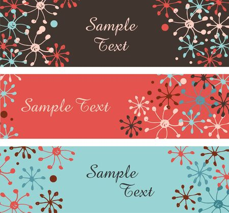 Collection of decorative snowflakes banners  Horizontal borders with place for text  Winter templates for design Vector