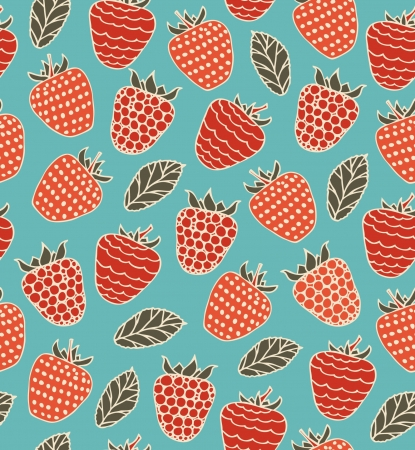 Colorful decorative seamless pattern with berries  Raspberries doodle background Stock Vector - 17088541