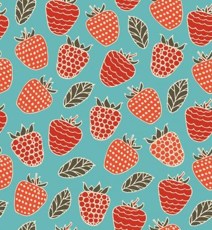 Kleurrijke decoratieve naadloze patroon met bessen Frambozen doodle achtergrond