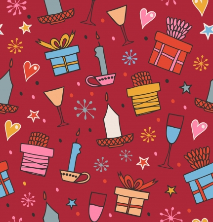 Colorful seamless pattern with gifts, candles, goblets  Endless decorative romantic background with boxes of presents  Hand drawn holiday texture for crafs, prints, wallpapers, package papers Stock Vector - 17088512
