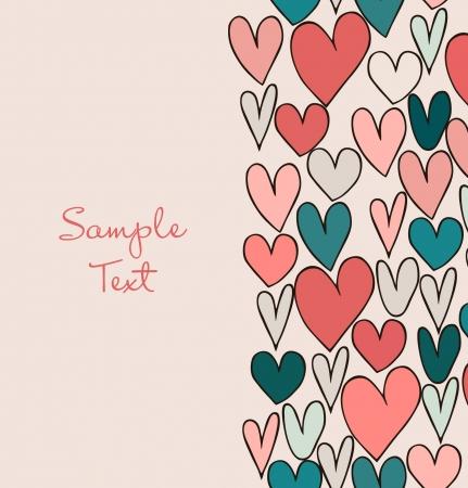 Decoratieve abstracte liefde grens. Cute cartoon banner met de hand getekende harten. Grafisch ontwerp voor kaarten, ambachten, geschenken Stock Illustratie