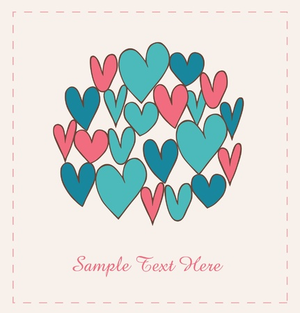 Decorative hearts in circle. Doodle elements for scrapbooking, gifts, arts, crafts, prints. Cartoon hand drawn background Vector