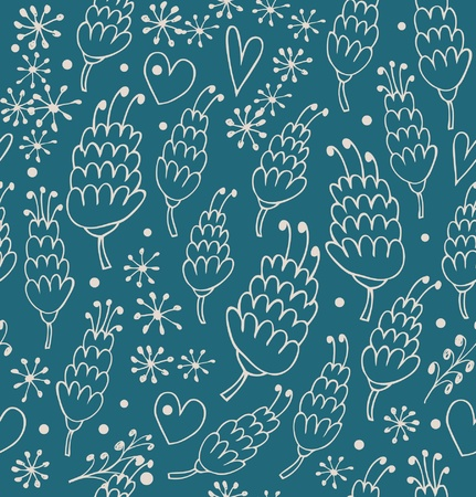 Doodle seamless pattern with flowers and hearts. Endless cute background for prints, textile, scrapbooking, craft papers Vector