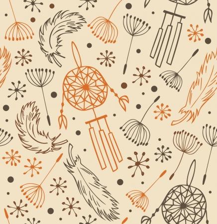 dreamcatcher: Patr�n �tnico. Seamless nacional con flores, plumas y atrapasue�os. Antecedentes en el estilo indio para el dise�o y la decoraci�n Vectores