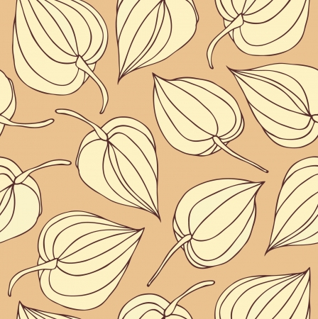 winter cherry: Floral decorative contour seamless pattern. Lace background with flowers. Hand drawn vintage texture