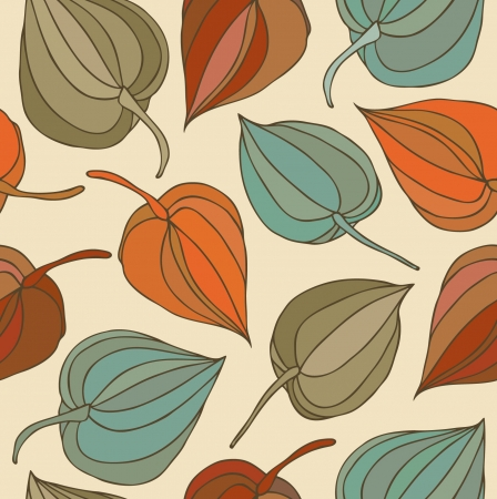 winter cherry: Floral decorative seamless pattern. Cute background with flowers. Hand drawn fabric texture