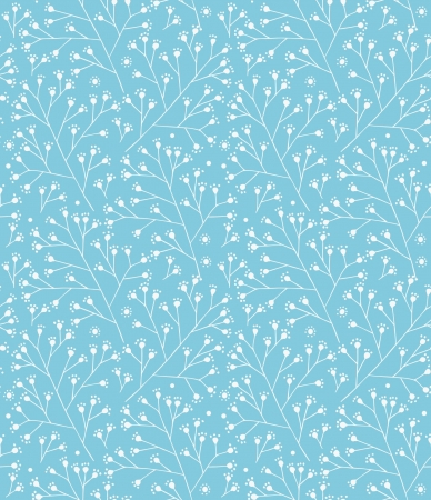 Floral winter pattern. Decorative branches seamless background