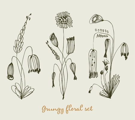 Grungy floral set. Collection of vintage bouquets. Compositions with sketchy flowers Vector