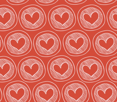 Red decorative seamless pattern with hearts in circles. Abstract texture with many cute details. Doodle background for prints, crafts, package papers, wallpapers Stock Vector - 17088505