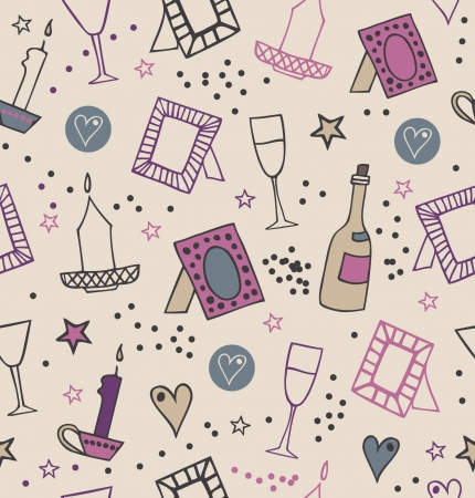 nostalgy: Romantic vintage seamless background with photo frames, candles, herts, stars, goblets and bottles of vine. Endless modern pattern with many decorative details