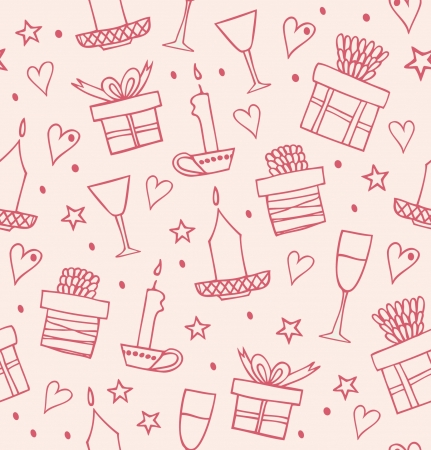 Rose light seamless pattern with gifts, candles, goblets. Endless decorative romantic background with boxes of presents. Hand drawn holiday texture for crafs, prints, wallpapers, package papers Stock Vector - 17088540