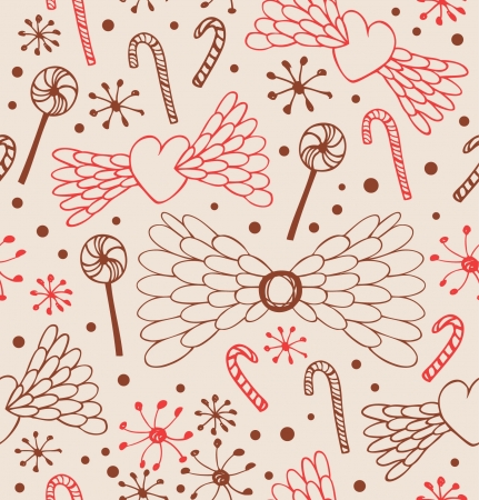 Seamless abstract pattern. Cute lace background with hearts, angel wings, lollipops, sugarplums and showflakes. Endless light texture Stock Vector - 17088467