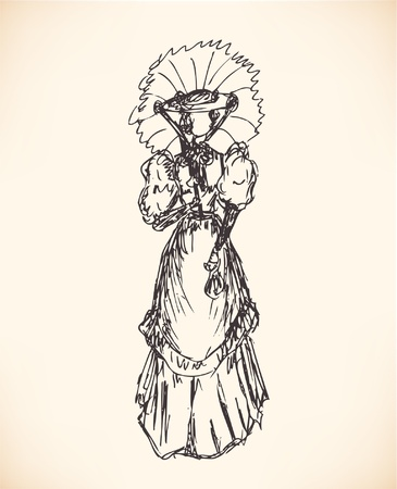 victorian lady: Sketch of woman in retro clothes. Lady in vintage dress. Hand drawn modern woman silhouette