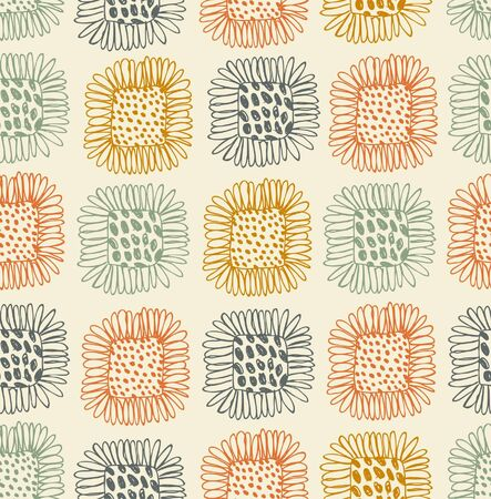 Bright seamless floral pattern  Decorative cute background with sunflowers  Abstract hand drawn doodle texture  Tablecloth Vector