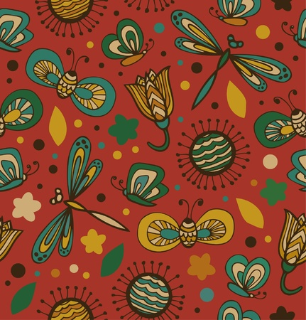 Colorful floral pattern with flowers, dragonflies and butterflies  Ornate fabric seamless texture  Doodle gorgeous background Vector