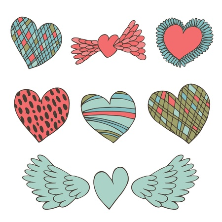 birthday angel: Creative collection of hearts  Cute valentines elements for design and decoration  Love set