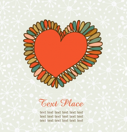 Cute design element for cards, crafts, prints, scrapbooking, ornaments  Hand drawn heart with petals  Decorative love banner Vector