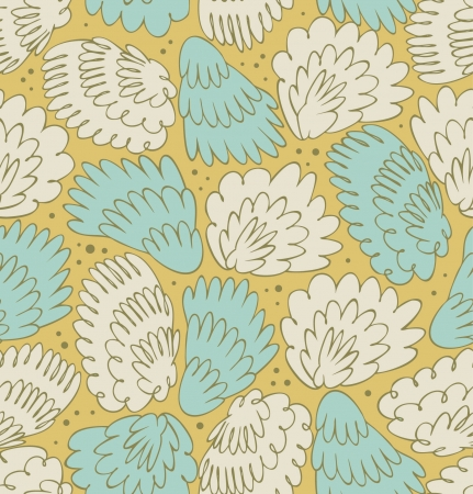 Feathers seamless ornate pattern  Abstract background with plums  Decorative texture with fuzz  Wings