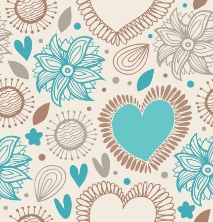 Bloemen decoratieve naadloze patroon van de krabbel achtergrond met harten en bloemen Fabric vintage textuur Stock Illustratie