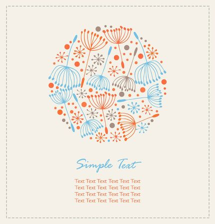 Floral hand drawn cute banner  Lace doodle round elements with decorative flowers  Vintage design template with fluff Stock Vector - 17210125