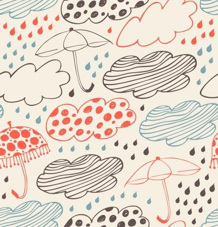 lluvia paraguas: Rainy modelo incons�til del fondo decorativo adornado con nubes, paraguas y gotas de lluvia textura de dibujos animados con estilo, con muchos detalles lindos