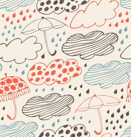 Rainy seamless decorative background  Ornate pattern with clouds, umbrellas and drops of rain  Cartoon stylish texture with many cute details Vector