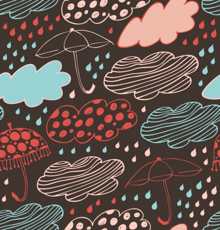 cloudburst: Rainy seamless lace background  Gorgeous pattern with clouds, umbrellas and drops of rain  Cartoon doodle texture with many beautiful details