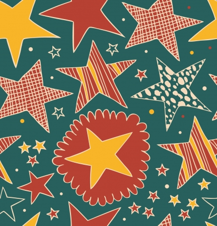 Seamless abstract pattern with stars  Starry decorative drawn background  Doodle cute texture