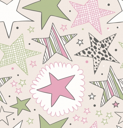 Seamless ornate pattern with stars  Starry hand drawn background  Doodle beautiful template for prints, crafts, clothes, wallpapers Иллюстрация