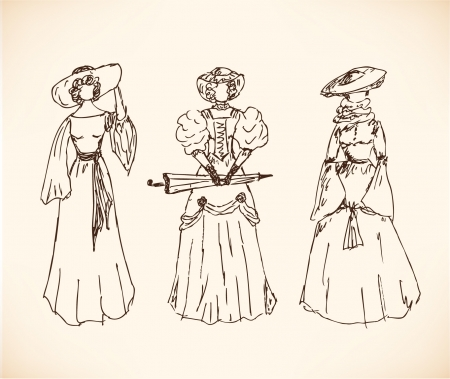 Set with sketches of women in historical clothes  Ladies in vintage dresses  Retro collection of modern women silhouettes