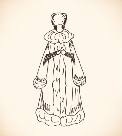 fur coat: Sketch of woman in historical native clothes  Ladies in national dresses  Retro modern woman silhouette