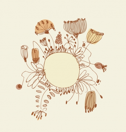 Sketchy banner with round frame and place for your text  Vintage lace greeting card witn country flowers and berries Vector