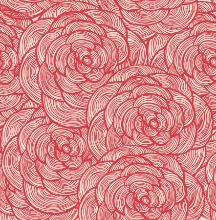 Tapestry floral seamless pattern  Decorative cute background with red roses Illustration