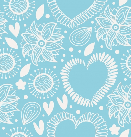 Winter decorative seamless pattern  Cute background with hearts and flowers  Fabric ornate texture for wallpapers, prints, crafts, textile Vector