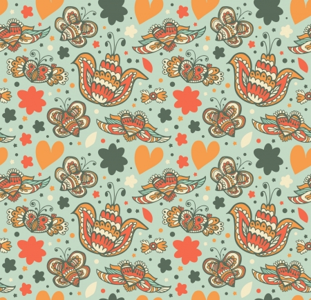 Floral ornate pattern with many cute details. Seamless gorgeous background with flowers, hearts and butterflies. Sunny doddle texture Stock Vector - 17210184