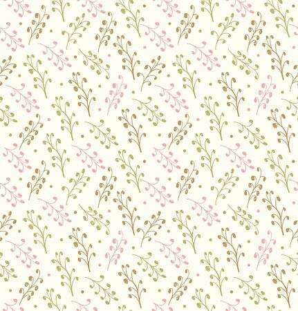 Decorative floral pattern  Seamless drawn background with leafs  Doodle modern texture Stock Vector - 17333327