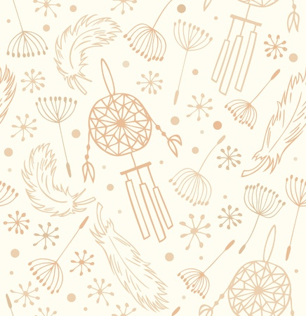 Ethnic pattern  Seamless national backround with flowers, feathers and dream catchers  Native background for design and decoration Vector