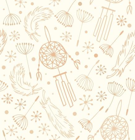 atrapasueños: Patrón Seamless backround étnico nacional con flores, plumas y atrapasueños fondo indígena para el diseño y la decoración
