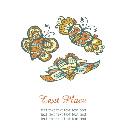 Cute collectoin with hearts and butterflies  Set of stylish decorative elements for crafts, cards, prints, ornaments, decoration Stock Vector - 17333320