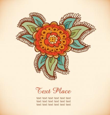 Floral decorative element  Hand drawn stylish flower  Decorative doodle banner Stock Vector - 17333329