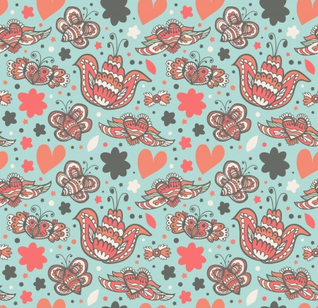 Floral ornate pattern with many cute details  Seamless gorgeous summer background with flowers, hearts and butterflies  Decorative doddle texture Vector