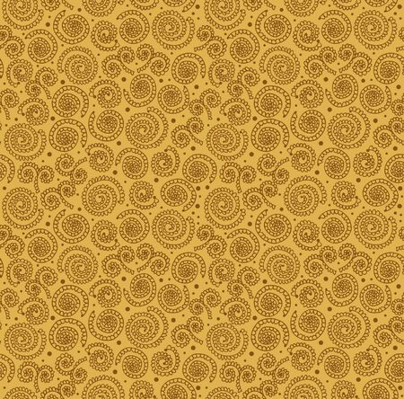 Golden abstract spiral pattern  Seamless stylish background with circles lookes like crocheting doily Stock Vector - 17333332