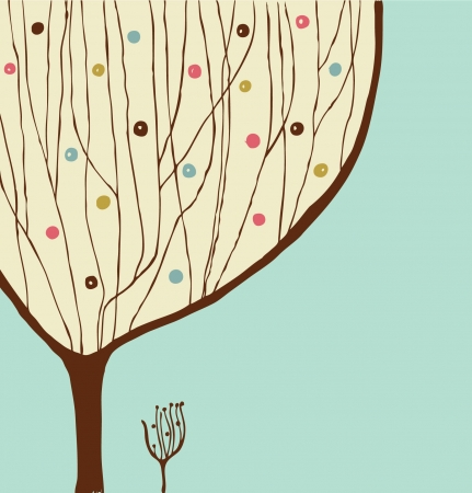 Hand drawn decorative tree. Vintage spring banner Vector